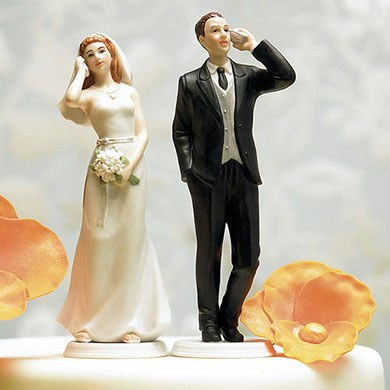 Cell Phone Fanatic Bride and Groom Mix and Match Wedding Cake Toppers