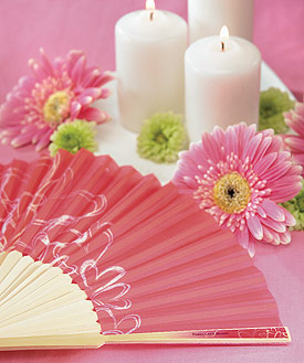 contemporary hearts wedding favor hand fans