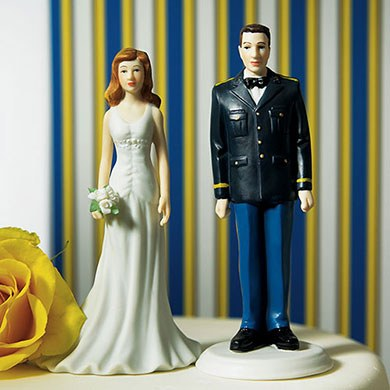 military groom wedding cake topper