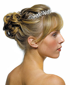 Garden Bridal Tiara Accessory in Silver with White Pearls