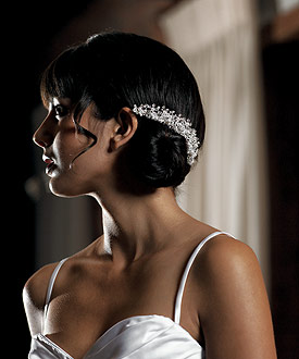 White Pearl and Crystal Flowers in Silver Wedding Hair Comb