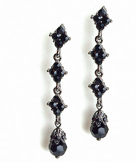 Jet Black Wedding Earrings