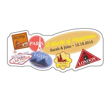 World of Happiness Wedding Favor Sticker