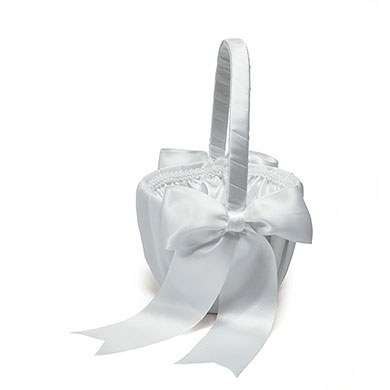 Ceremony Flower Girl Basket with Classic Double Faced Satin Ribbon Bows