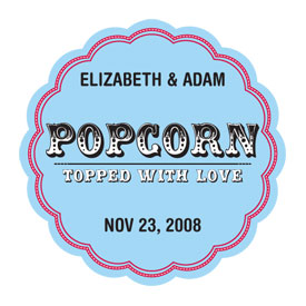 Popcorn Topped with Love Wedding Favor Sticker