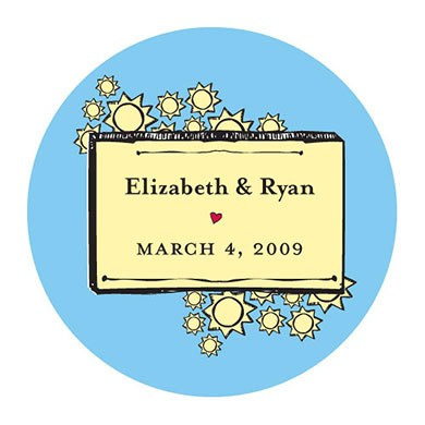 Sunshine Wedding Favor Stickers