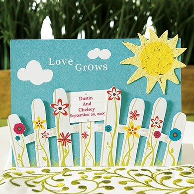 love grows wedding favor card