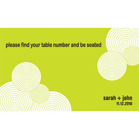Retro Circles and Pattern Wedding Reception Table Sign Card