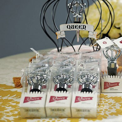 Queen Crown with Crystals Wine Bottle Stopper Wedding Favor in Gift Packaging