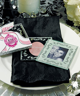 mirror photo frame wedding favor coaster set 
