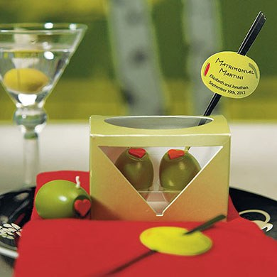 martini olive wedding candle favors