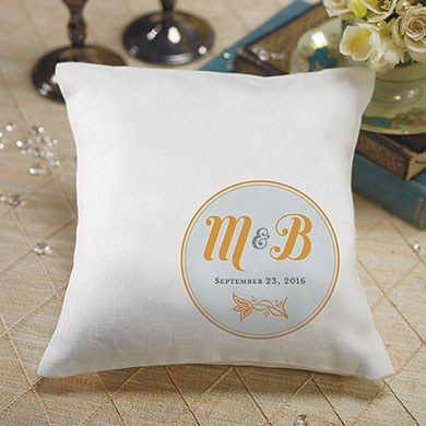 Notable Personalized Ring Pillow with Circle Floral Monogram