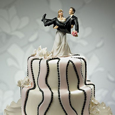 To Have and to Hold Bride holding Groom Wedding Cake topper