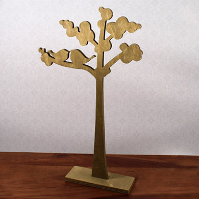 Wooden Die-cut Trees with Love Birds Silhouette Wedding Reception Set of 2 Assorted Decoration