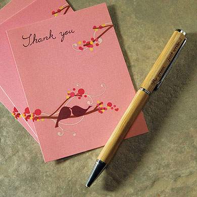 Eco Friendly Bamboo Ballpoint Wedding favor Pen with Inscription