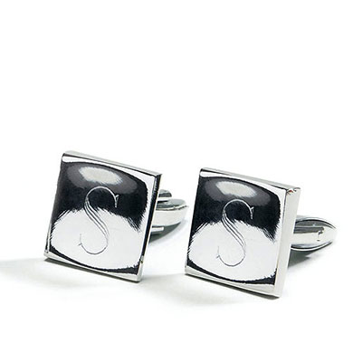 Classic Square Pair Cufflinks in Shiny Silver Plating  Wedding Gift