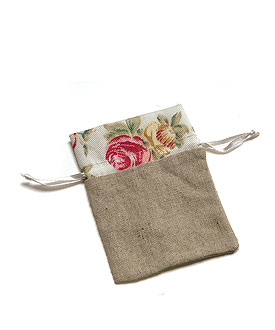 mini rose print wedding favor linen drawstring pouch