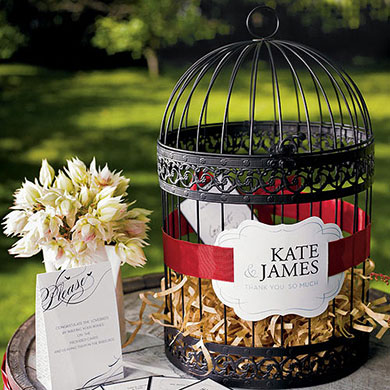 Birdcage wedding wishing well