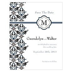 Lavish Monogram Save The Date Card