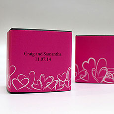 Contemporary Hearts Cube Favor Box Wrap