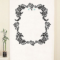 Love Bird Damask Monogram Personalized Photo Backdrop