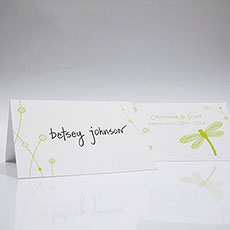 Decorative Dragonfly Place Card With Fold