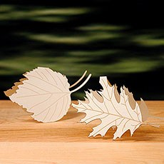 Laser Expressions Leaf Folded Place Card