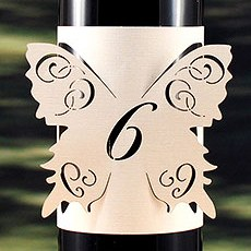 Laser Expressions Butterfly Table Number Bottle Wrap