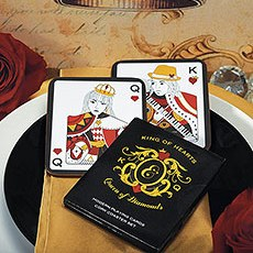 King of Hearts Queen of Diamonds Cork Coaster Set In Gift Packaging