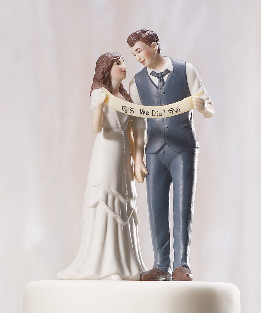 Indie Style Retro Vintage Custom Wedding Bride Groom Couple Cake Topper Figurine
